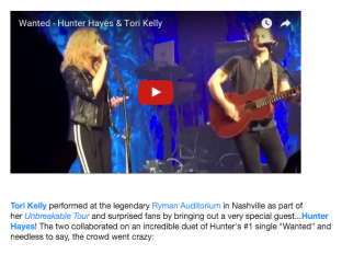 Hunter Hayes & Tori Kelly Duet Perform After 11 Years of Knowing Each Other