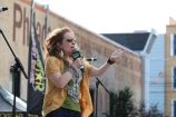 Wendy Rollins pumping up the crowd, Radio 104.5 Summer Block Party